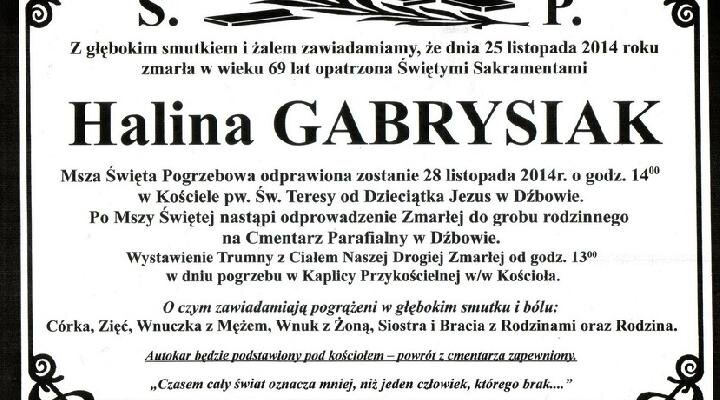 ŚP. Halina Gabrysiak zm. 25.11.2014r.